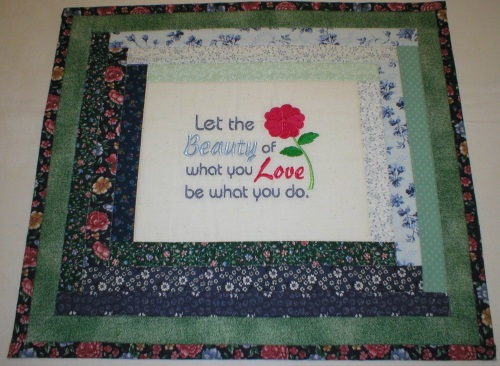Embroidered Quilted Wall Hanging (Do What You Love)
