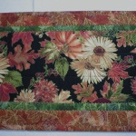 Centerpiece view of handmade quilted table runner #5637