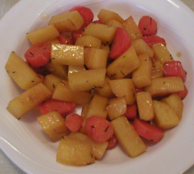 Maple Glazed Rutabaga and Carrots
