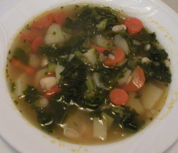 Kale Soup with Potatoes, Carrots and Leeks