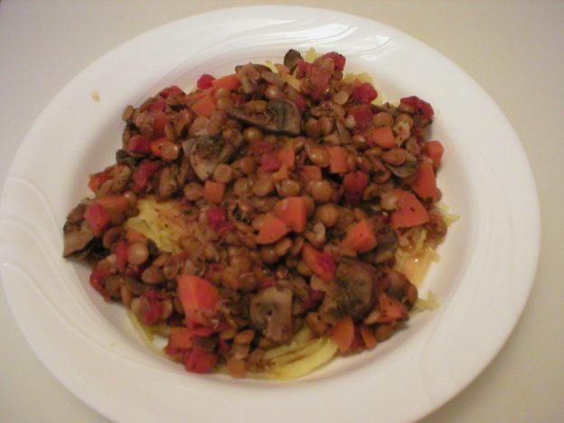 Lentils with Vegetables Over Spaghetti Squash