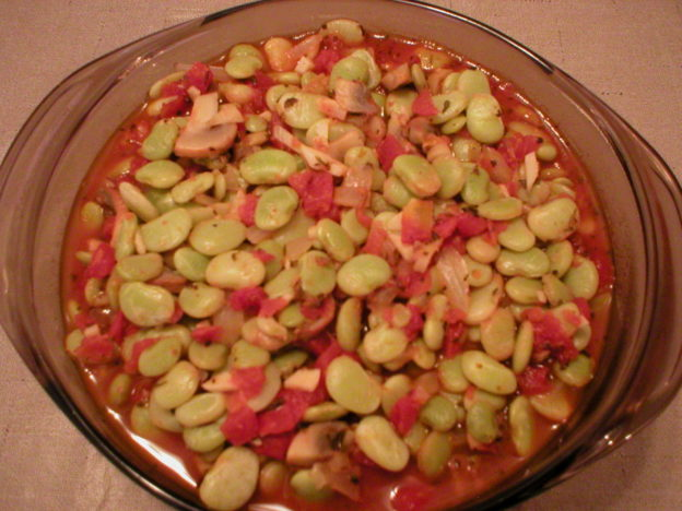 Lima Beans with Mushrooms and Tomatoes