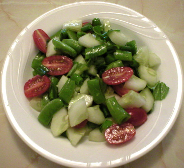 Cucumber Salad with Sugar Snap Peas, Tomatoes, and Fresh Basil