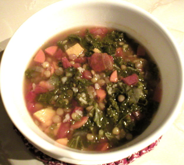 Lentil Soup with Sweet Potatoes and Kale